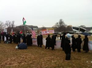Orthodox Jews w: Palesitine Flag